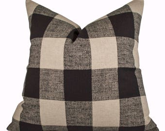 Buffalo Check Pillow Cover - Premier Prints Anderson Black Linen Pillow Cover - Made to Order in Over 20 Sizes with Invisible Zipper