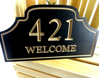 Welcome Address Sign - House Numbers - Welcome Signs - Cottage Sign - Outdoor Sign - Custom House Sign - Welcome Plaque - Wood Signs - Gifts
