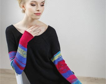 Cashmere Knit Sweater | Oversized Sweater | Black Sweater Dress | Triki