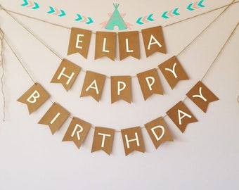Personalised happy birthday banner bunting, teepee, arrow, tribal, wild and free, neutral party