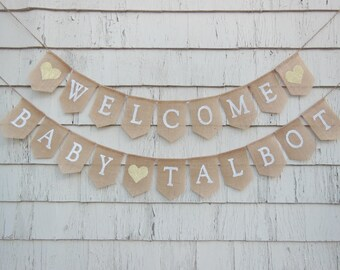 Gender Neutral Baby Shower, Welcome Baby Banner, Rustic Baby Shower Banner, Burlap  Baby