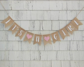 Its A Girl Banner, Baby Girl Shower Decor, Its A Girl Garland, Baby Banner, Baby Girl Burlap Banner, Baby Bunting, Pink Baby Shower Decor