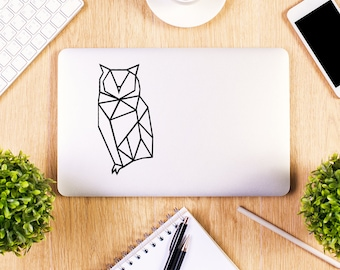 Geometric Owl Decal, Macbook Decal, Apple Macbook, iPad and other laptop sticker, geometric animal, polygon, vinyl sticker, geometry decal