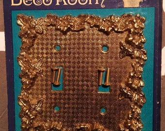 Antique Brass Double Light Switch Plate Cover, NIP Gold Floral Metal Hardware Home Decor from Deco Room by American Tack & Hardware Co.