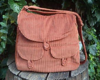 Brown corduroy messenger bag,buttoned big bag