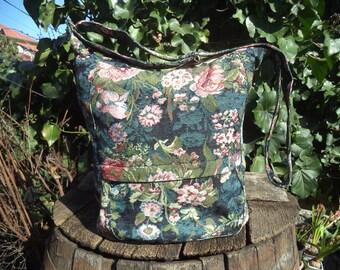 Tapestry messenger bag,zippered big bag,gobelin,vintage bag