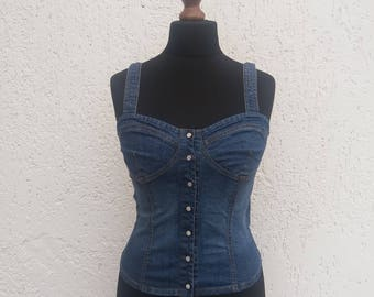Vintage Blue Denim Fitted Jeans Womens Top Medium Size