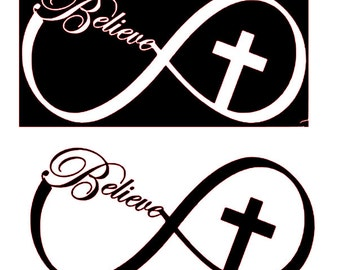 Infinity Sign with Believe & Cross SVG File