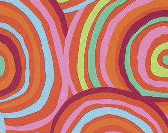 """3.25  Yard of Kaffe Fassett Circles in Red,  Extra Wide 108"""" fabric."""