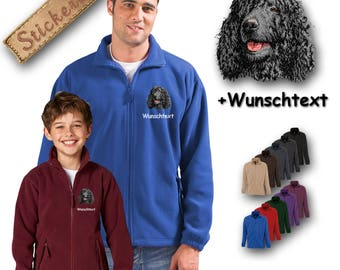 Cosy fleece jacket jacket embroidery embroidered dog Irish Water Spaniel + Own Words