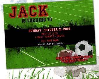 Sports party invitation, printable, Football, Soccer, Baseball