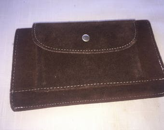 Vintage brown suede french wallet