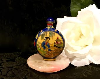 chinese snuff bottle antique enamel on copper 19th century imperial yellow / royal blue