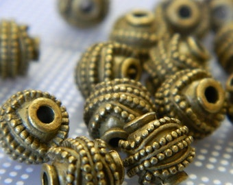 11mm Heavy Tibetan Style Bronze Ball Spacer Beads - Dot Pattern Round Bead Spacers - 15 Beads Per order