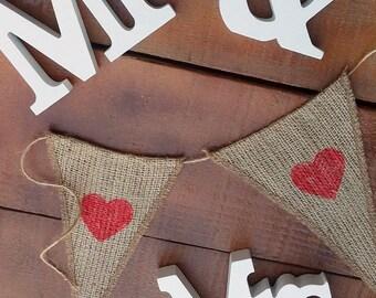 Burlap Heart Banner - Valentine's Rustic Banner - Burlap Bunting - Burlap Garland - Wedding Prop - Pennant Banner - Rustic Wedding Decor