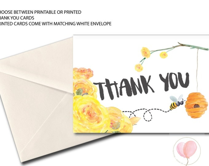 Bee Thank You Card // Folded Thank You // A7 // Bees // floral // yellow // black // Instant Download // MELBOURNE COLLECTION