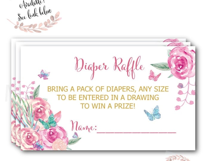 Butterfly Diaper Raffle Ticket // Diaper Raffle Card // Butterflies // Baby Shower // Flowers // Printed //  VICTORIA COLLECTION
