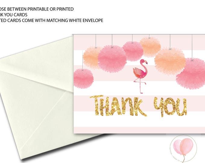 Flamingo Thank You Card // Let's Flamingle Folded Thank You // Pink Flamingo // Printed // COCONUT GROVE COLLECTION