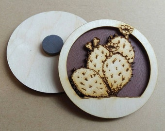 Wooden Magnet - Prickly Pear Cactus