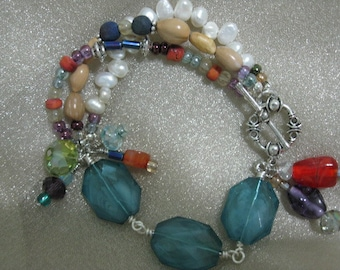 MULTI STRAND  PEARL and Glass Bead Bracelet Free Shipping