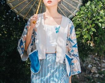 Lost in Kyoto Collection blue cherry blossom short kimono