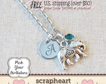 Strength - Overcome Any Obstacle Elephant Necklace, Inspirational Elephant, Good Luck Lucky Elephant Charm, Elephant Friendship Necklace