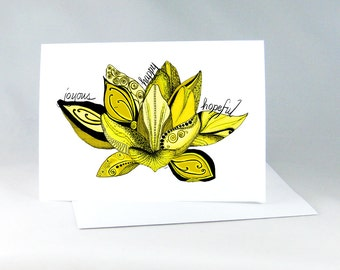 Lotus Flower, Spiritual Card, Lotus Yoga Card, Yoga Art Card, Yoga Art, Lotus Flower Drawing, Yoga Wall Art, Zentangle Lotus Art Card 1114G