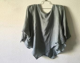 Vintage Blouse - Rare Silk Double Layered Loose Uneven Shirt Asymmetrical Hem Top
