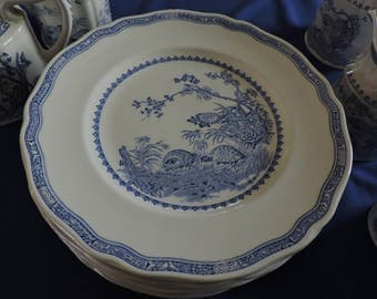Furnivals Blue Quail China Dinner Plates Scalloped Top Rim Round Backstamp 1913c Sold in Pairs Only