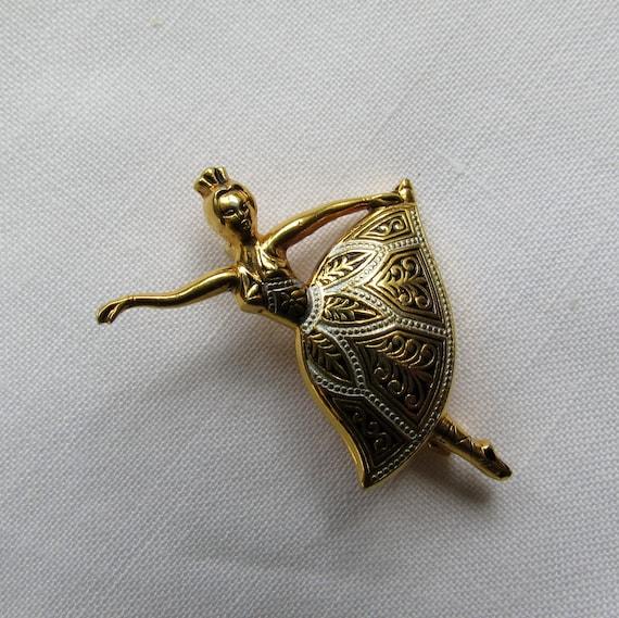 Dancing Ballerina Goldtone Brooch With Intricate Skirt Design Silver On Gold 1950's Vintage