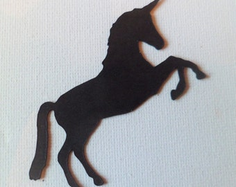Silhouette Die Cut Unicorns in Black x 8