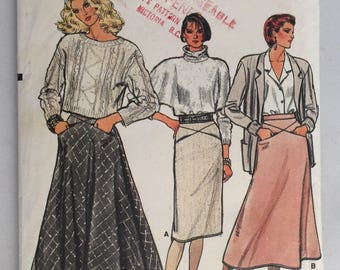 Vintage Vogue 9112 Misses' Skirt Straight, A-Line or Flared Pattern size 12 uncut
