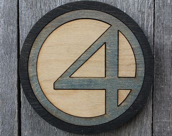 Fantastic Four Wood Coaster | Rustic/Vintage | Hand Stained and Glued | Comic Book Gift