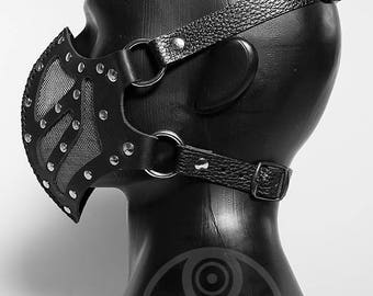 Leather mask with brass mesh