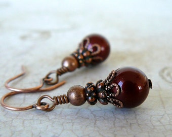 Small Copper Brown Pearl Earrings, Vintage Style Bordeaux Dangles, Maroon Jewelry, Swarovski Elements Crystal Pearls, Gift for Her