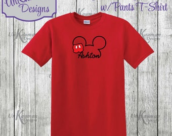 Disney Inspired Personalized Mickey Mouse w/Pants Design Toddler & Youth T-Shirt for boys or girls