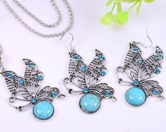 Turquoise Butterfly Earrings Necklace Set