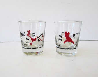 Mid Century Barware - Pair of Vintage Shot Glasses - Horse and Jockey Design - Whimsical