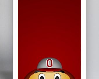 Minimalist Mascot - Brutus Buckeye - Ohio State Buckeyes
