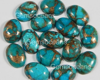 10 Pieces Lot Blue Copper Turquoise 8X10 mm Oval Shape Gemstone Cabochon