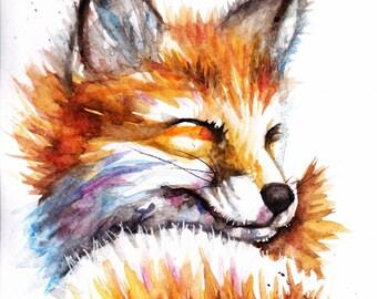 Original Watercolour Snoozing Fox Print by Artist Be Coventry Wildlife Animal Art