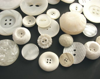 30 assorted white buttons, Large button lot with some really beautiful vintage buttons, unused!!!