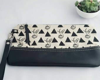 Large Goats with Mustaches  Leather Wristlet, Black Leather Clutch, Leather Pouch
