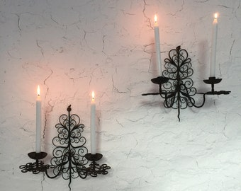 large pair of handmade french antique candle wall sconces