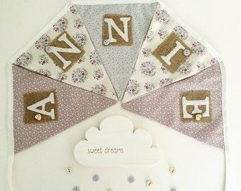 Personalised Bunting Lavender/Blue/Cream Fabrics