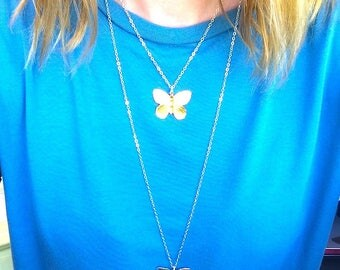 Butterfly charm necklace silver or gold Butterfly necklace Bug necklace Bug Jewelry Butterfly jewelry Fairy Jewelry