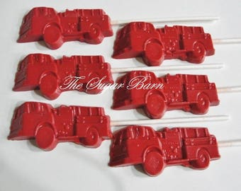 FIRETRUCK CHOCOLATE Lollipops*12 Count*Firefighter*Fire Engine*Fireman Hero*Birthday Party Favors*Fireman Candy*Fireman Gift