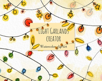 Light garlands creator.  Watercolor clip art .Bright and original hand drawn illustrations.
