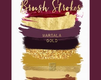 Brush Strokes Clip Art. Marsala collection. Burgundy red, deep red and mustard yellow palette. Watercolor clipart. Digital Design Resource.