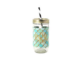 Mermaid Mason Jar Tumbler, Monogram Mason Jar Cup, Gifts for Her, Unique Gifts, Gifts Under 25, Monogram Gifts, Personalized Gifts